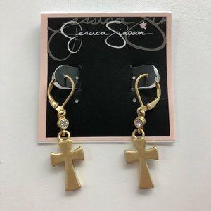 Jessica Simpson Brushed Goldtone Cross Earrings